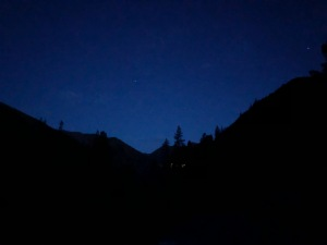 Between nighttime and dawn at the beginning of our trek.